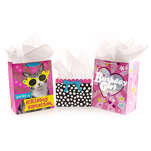 Hallmark Assorted Birthday Gift Bag Bundle for Girl with Tissue Paper (Pack of 3; Pink Cat, Polka Dots, ()
