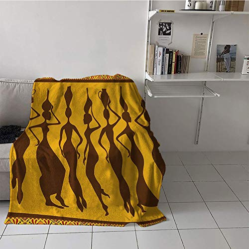 Khaki home Children's Blanket Microfiber Print Summer Quilt Comforter (60 by 62 Inch,African,Silhouette of Sexy Female Bodies Exotic Design Savannah Women Artwork Print,Brown ()