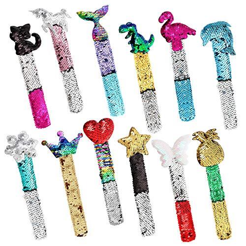Qunan 12 Pcs Slap Bracelets Mermaid Party Favors Bags Gifts for Kids Class Prizes Two-Color Decorative Reversible Charm Sequins Flip Wristband Slap Bracelets for Girls