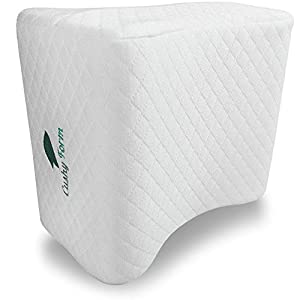 Cushy Form Sciatic Nerve Pain Relief Knee Pillow - Best for Hip, Leg, Knee, Back and Spine Alignment - Memory Foam Orthopedic Leg Pillow Wedge with Washable Cover + Free Storage Bag