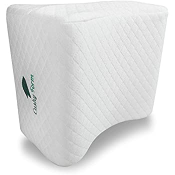 Sciatic Nerve Pain Relief Knee Pillow by Cushy Form - Best for Hip, Leg, Knee, Back and Spine Alignment - Memory Foam Orthopedic Leg Pillow Wedge with Washable Cover + Free Storage Bag