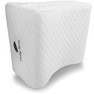 Cushy Form Knee Pillow for Side Sleepers - Sciatic Nerve Pain Relief Leg Pillow for Sleeping - Sciatica, Pregnancy, Hip, Lower Back - Memory Foam Orthopedic Contour Wedge w/Washable Cover