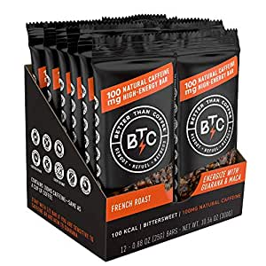 Better Than Coffee Energy Bars - Natural Caffeine Energy Bars - Gluten Free Energy Bars - Caffeinated Chocolate Bar - Hiking Bars - 100mg Caffeine Snack - French Roast Coffee Bar (12 Count)