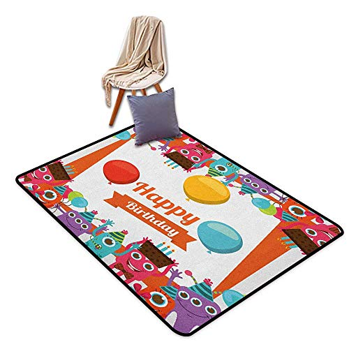 Children's Rugs Playrug Rugs Birthday Funny Happy Monsters Holding Chocolate Cakes Party Horns Kids Celebration Design Girl Room Children's Room Kindergarten Decoration Rug W6'xL9'