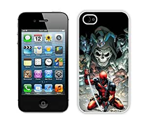 Special Custom Made Deadpool White iPhone 4S Protective Phone Case