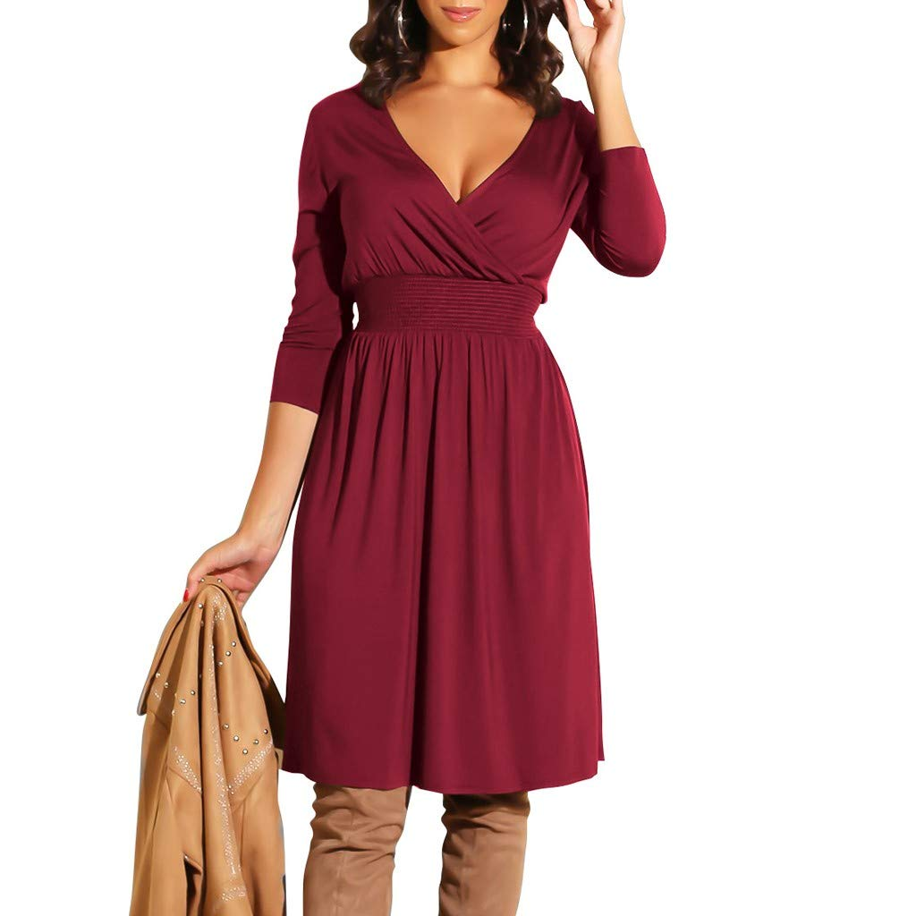 Women Dress Fashion Ladies V-Neck Long Sleeve Solid Color Casual Classic Belted Knee-Length Sheath Faux Black Wrap Dress(Wine,S)