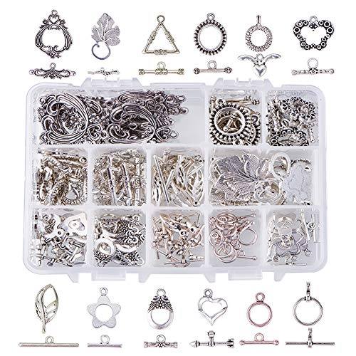 PH PandaHall 96 Sets 12 Style Tibetan Style Alloy Antique Silver Toggle TBar Clasps Findings Jewelry Making (Flower, Butterfly, Leaf, Drop, Heart, Donut, Triangle)