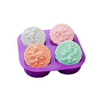 sharlity 4-cavity cuatro estaciones Árbol Jabón redondo silicona moldes para hacer velas: Amazon.es: Juguetes y juegos