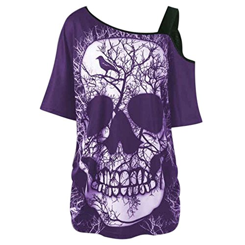 Sherostore ♡ Women Off Shoulder Skull Print Short Sleeve Irregular T-Shirt Gothic Skull Tops Punk Rock Top Blouse - Rail Olympia