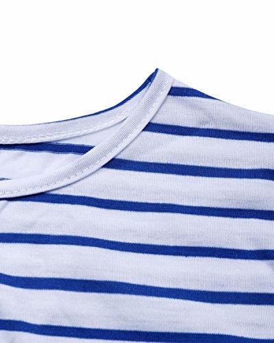 Sleeve 3 BIUBIU Pockets Spring Maxi Stripe Waist Navy Floral Tie Women's 4 with Dress gpUBAUqI