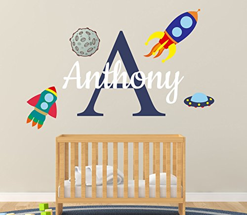 Custom Name & Initial Space Rocket Moon And Spacecraft - Handmade Series - Baby Boy Girl Unisex - Wall Decal Nursery For Home Bedroom Children (AM) from Cryptonite Inc