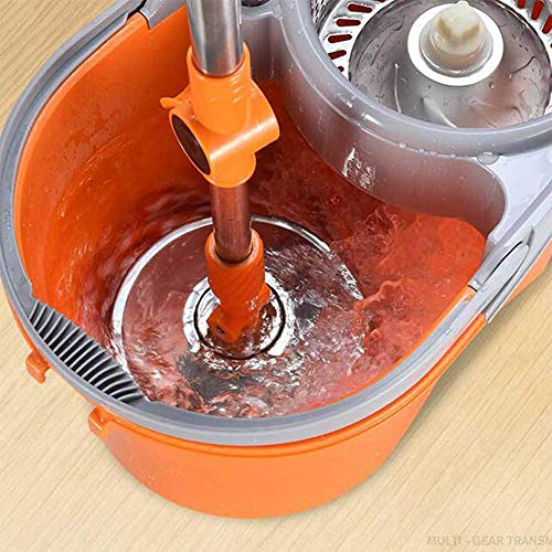 Zhanghaidong Rotary Mop Bucket Double Drive Mop Home Hand-Free Mop Bucket Automatic Hand Pressure Good God Drag Stainless Steel Self-Wringing Microfibre Spin Mop by Zhanghaidong (Image #4)