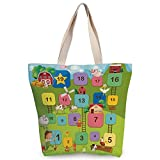 iPrint Cool Canvas Tote Bag,Board Game,Different Colored Square Blocks Numbers Ladders Farmer Boy Field Agriculture Decorative,Multicolor,Canvas Shopping bag,shoulder handbags,Shoulder Bag