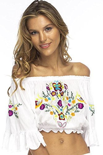 Crop Top White Back From Bali Boho Bell Sleeve Peasant Shirt Embroidered Large (Sexy Peasant Tops)