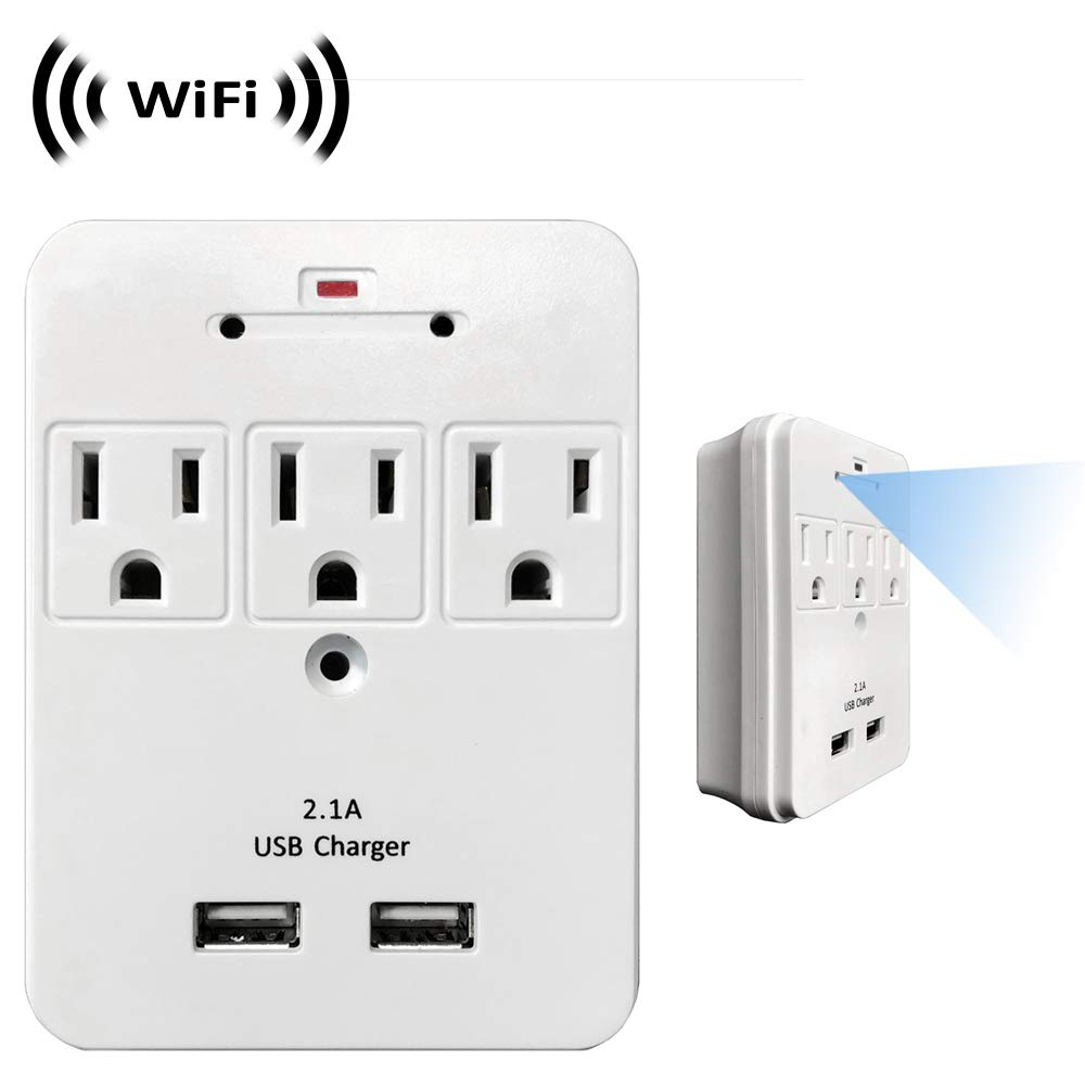 WF-113D Camera Hidden in 3 AC Outlet with Dual USB Charging Port Wall Charger WF-113 Wireless Spy Camera with WiFi Digital IP Signal Recording /& Remote Internet Access