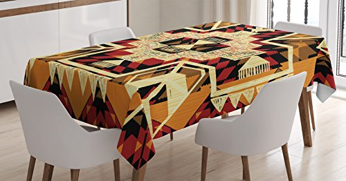 "Ambesonne Arrow Decor Tablecloth, Native American Inspired Retro Aztec Pattern Mod Graphic Design Boho Chic Art Print, Dining Room Kitchen Rectangular Table Cover, 60"" X 84"", Cream Merigold"