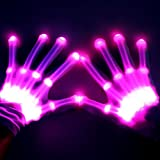 Theefun 12 Color Changing Flashing Skeleton Gloves, for Novelty Christmas Gift, Halloween Costume Party Concert, 1 Pair, White