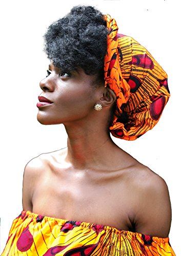 "African Head Wrap HongyuAmy Extra Long 72""x22"" African Wax Print Head Scarf Tie (Gold Red) (Wax Styling Head)"