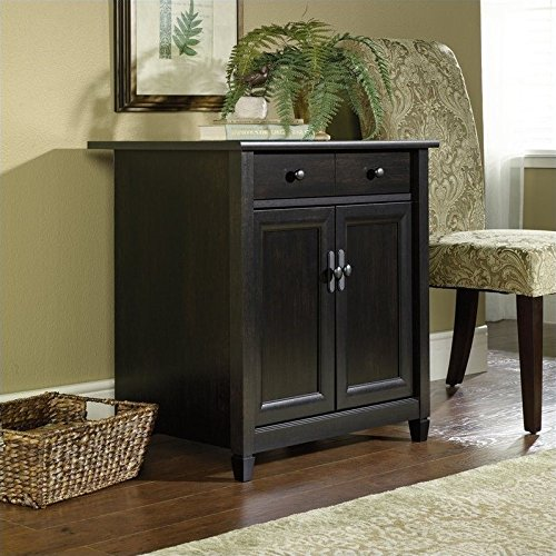 "Sauder 408696 Edge Water Utility Cart/Stand, L: 28.19"" x W: 19.45"" x H: 29.02"", Estate Black finish"
