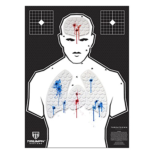 Threat Down Humanoid Silhouette - 3-Pack - Police Training Target - Pistol Target - Long Range Target - Reactive Targets for Shooting