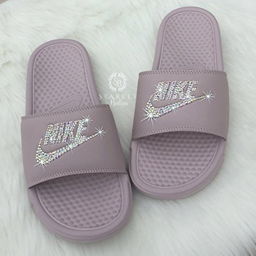 Swarovski Nike Slides - Nike Slip On Shoes For Women Rose Color NIKE Benassi JDI Slides with Crystals Custom Nike Bedazzled Slip On Glitter Kicks