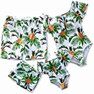 IFFEI Mommy and Me Swimsuit One Piece Pineapple Printed Family Matching Swimwear