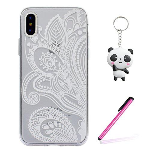 iPhone X Hülle Schöne Blume Premium Handy Tasche Schutz Transparent Schale Für Apple iPhone X / iPhone 10 (2017) 5.8 Zoll + Zwei Geschenk
