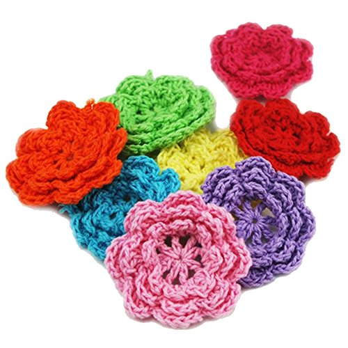 (Fujiyuan 25 PCS 50mm Knitted Crochet Flower Sewing for Embellishment Leaf Applique Trim Clothes Weaves Bag Mixed Color Random Send )