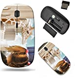 Liili Wireless Mouse Travel 2.4G Wireless Mice with USB Receiver, Click with 1000 DPI for notebook, pc, laptop, computer, mac book ID: 22484391 A little child is looking at a giraffe walking in the ci