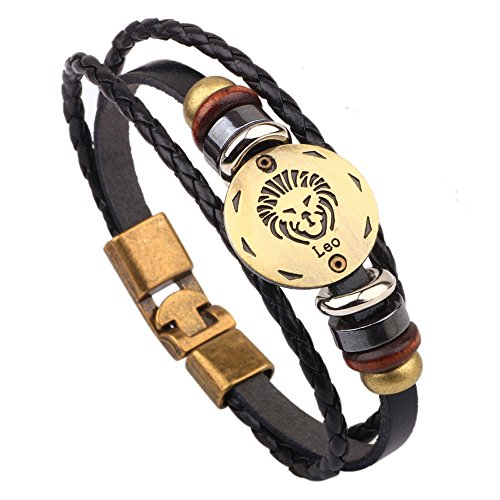 Winter's Secret Hand Braided Twelve Constellations Leo Black Leather Alloy Pull Clasp Wrap (Stardust Bass)