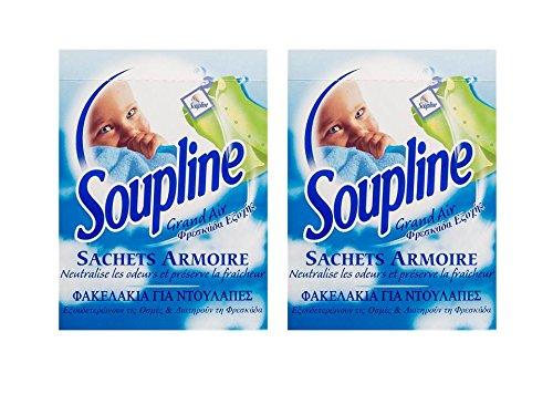 Soupline Grand Air: 3bolsitas perfumadas y 3ganchos; juego de 2