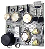 Wall Control 30-KTH-200 GW Kitchen Pegboard Organizer Pots and Pans Pegboard Pack Storage and Organization Kit with Grey Pegboard and White Accessories