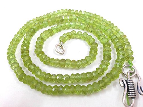 (AAA Natural Peridot Beaded Necklace 4-5 mm Faceted Rondelle 18