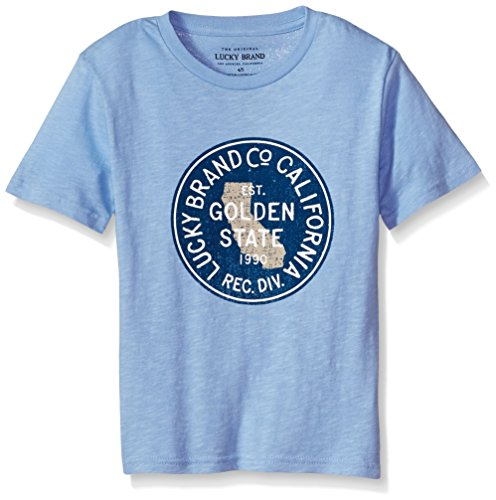 Lucky Brand Big Boys' Short Sleeve Cali Graphic Tee Shirt, Golden State ck Blue, Large (14/16)