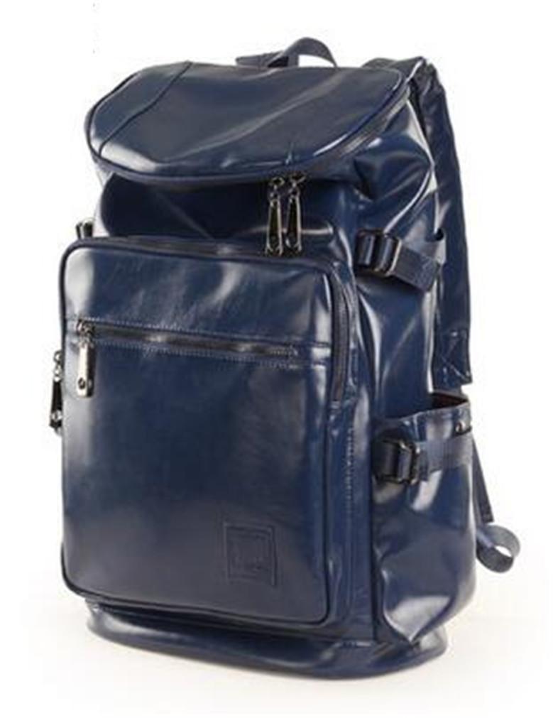 YANFEI PU-Leder-Rucksack für Studenten British Style Reisen Multifunktions-leichte große Kapazitäts-Dunkelblaue Schulter-Rucksäcke , dark Blau