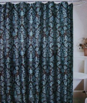 Amazoncom Chocolate Brown Teal Blue Toile Fabric Shower Curtain