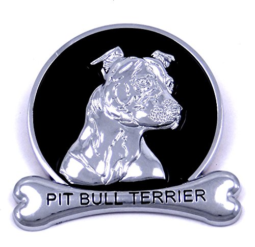 Pit Bull Terrier Chrome Dog Medallion Car Emblem Logo Badge Bully Breed American Staffordshire Ornament Gift Decal Truck (Breed Ornament)