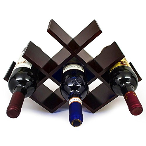 Sorbus Wine Rack Butterfly - Stores 8 Bottles of Wine - Sleek and Chic Looking - Minimal Assembly Required (Dark Mahogany) by Sorbus
