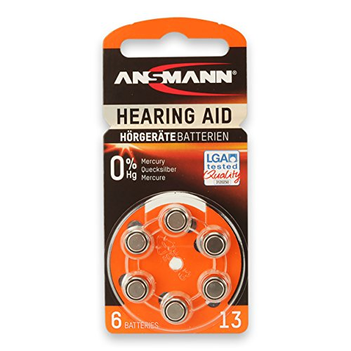 ANSMANN Hearing Aid Battery Size 13, Zinc-Air, 1.4V (6 (1.4v Zinc Air Battery)