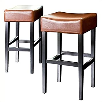 Noble House Trent Home 30 Rodriguez Backless Bar Stools in Hazelnut Set of 2