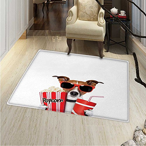 Movie Theater Area Rug Carpet Funny Dog Wearing Sunglasses Watching a Movie Popcorn Soda Print Living Dinning Room Bedroom Rugs 3'x4' ()