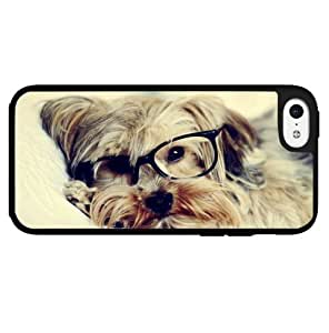 Hipster Yorkie Puppy with Glasses on Hard Snap on Phone Case (iPhone 5c)