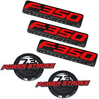 3x OEM Red Black F350 International Side Fender Emblems F for Ford F-350 Pickup