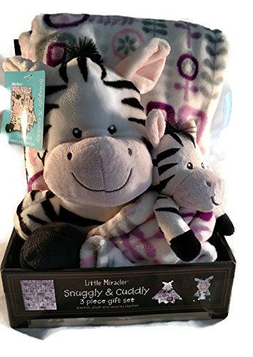 2791954b97 Amazon.com   Little Miracles Snuggly   Cuddly Zebra Plush Blanket ...