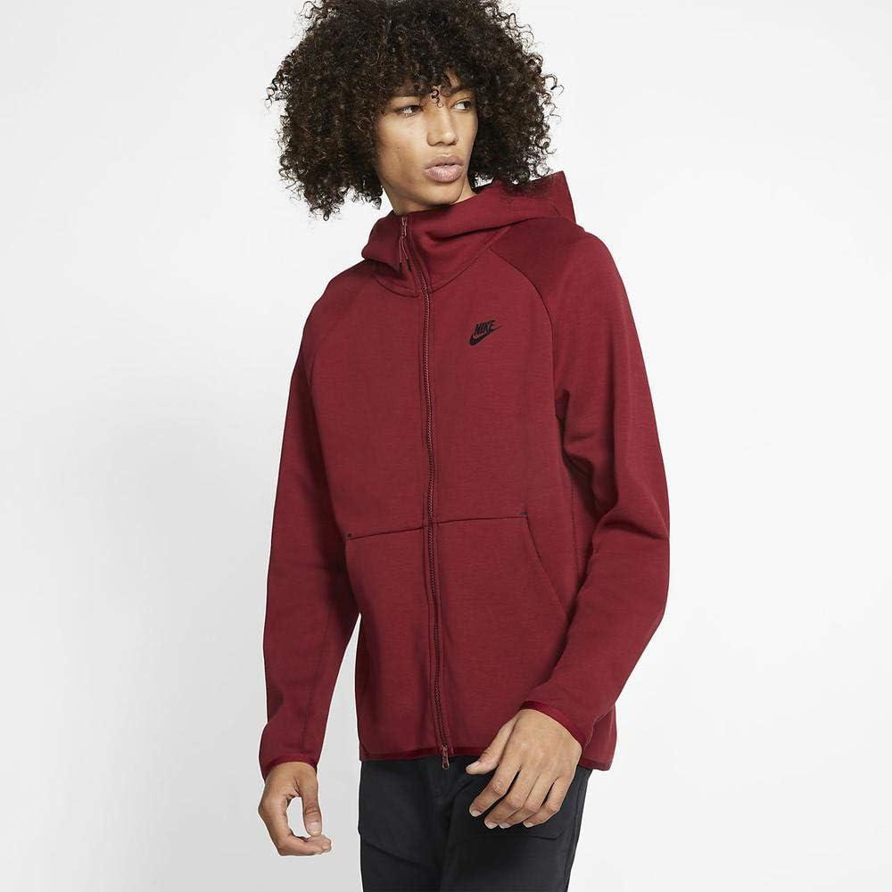 Amazon Com Nike Men S Sportswear Tech Fleece Full Zip Hoodie Xl Team Red Black Clothing