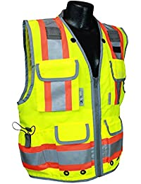 SV55-2ZGD Class 2 Heavy Woven Two Tone Engineer High Visibility Vest