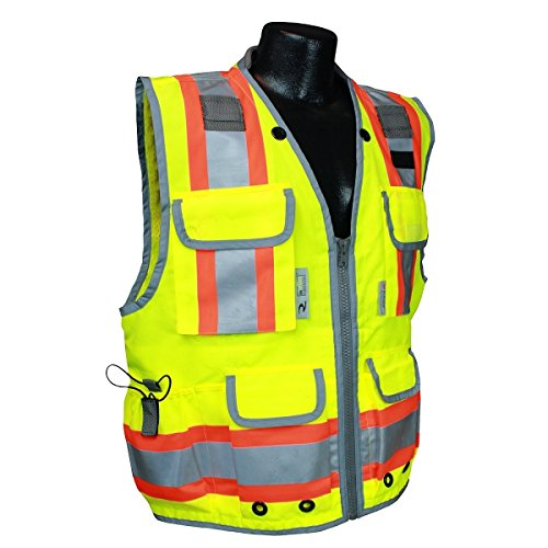 Radians SV55-2ZGD-4X Class 2 Heavy Woven Two Tone Engineer Safety Vest, Hi Viz Green, XXXX-Large