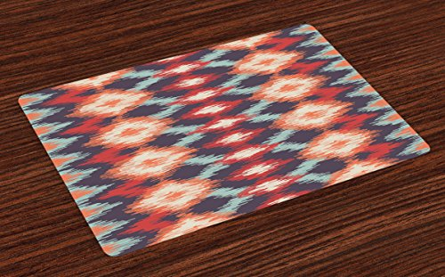 Ambesonne Ikat Place Mats Set of 4, Oriental Double Batik Tie-Dye Weaving Style Graphic Ikat Forms Cultural Artisan, Washable Fabric Placemats for Dining Table, Standard Size, Orange Teal ()