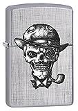 Zippo Lighter: Steampunk Skull Pipe Smoker - Linen Weave 77430
