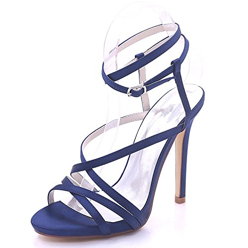 02 de Party L Mariage Shoes Sandales 3 7216 8 à Blue Court Tailles Hauts Plate Womens YC Forme Open Toe Talons Dress wwfqA74